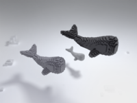 Voxel Whale Family