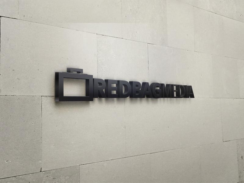 Red BAG Media Wall Sign sign red bag media briefcase design philly philadelphia brett garwood brand identity branding logo