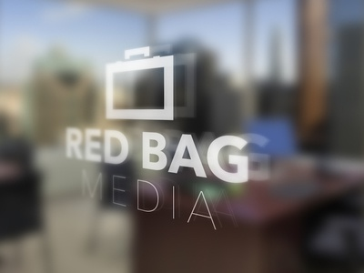 Red BAG Media Glass Window Sign