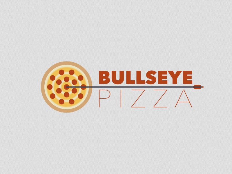 Bullseye Pizza texture napkin cheese pepperoni design logo branding dart bullseye pizza