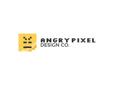 Angry Pixel Design Co. Logo typography pixelation pixelated identity branding logo company design pixel angry