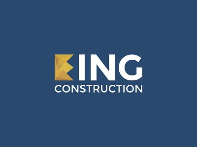 King Construction Logo typography crown identity branding logo construction king