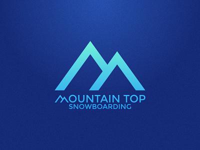 Mountain Top Snowboarding typography gradient blue identity branding logo company mountains snowboarding top mountain