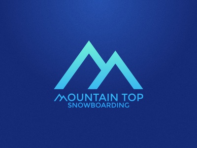 Mountain Top Snowboarding typography gradient blue identity branding logo company mountains snowboarding top mountain