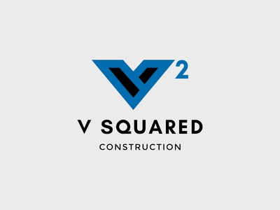 V Squared Construction typography identity branding logo company construction squared v