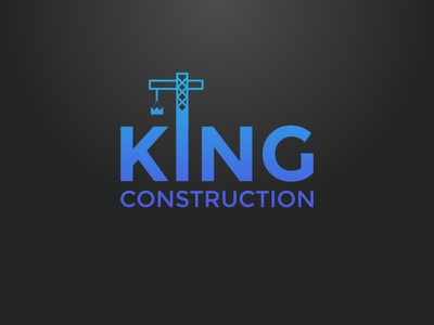 King Construction Version #3 identity branding crane crown logo company construction king
