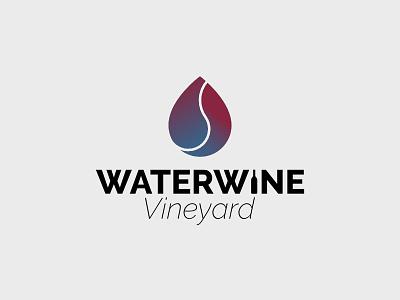 Waterwine Vineyard blue gradient red gradient logo gradient droplet drop vineyard wine water