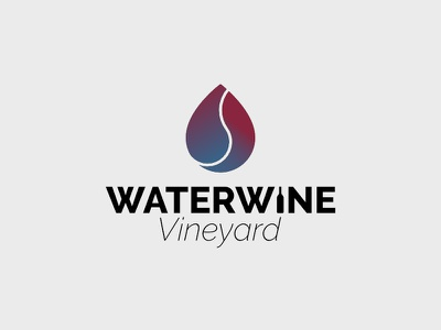 Waterwine Vineyard blue gradient red gradient logo gradient droplet drop vineyard wine water