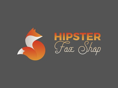 Hipster Fox Shop identity branding typography etsy gradient fox shop fox hipster