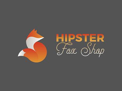 Hipster Fox Shop identity branding typography etsy gradient fox shop fox hipster
