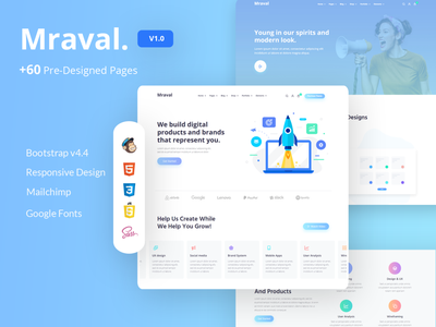 Mraval Multipurpose  Template blog portfolio pricning tables comming soon about service progress tabs vector branding design ui landing page web design agency web design