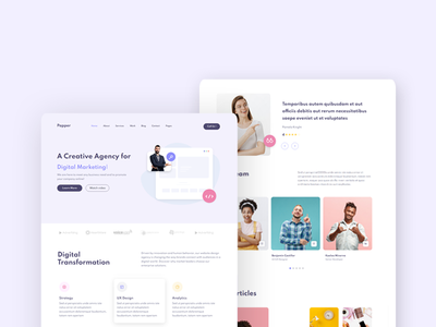 Papper Html Template creative agency web creative web agency app ui design dribbble mobile ui landing page ui