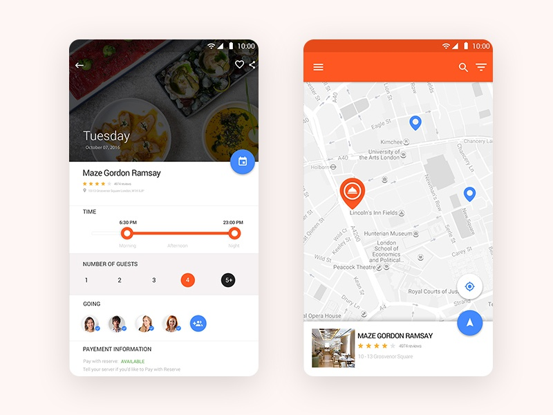 Location Material UI kit mobile app ui android