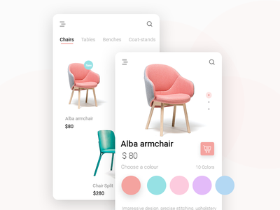 interiors Product page android shop product design product ui