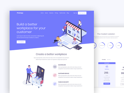 Pinshopy landing page web app web landing  page isometric landing page