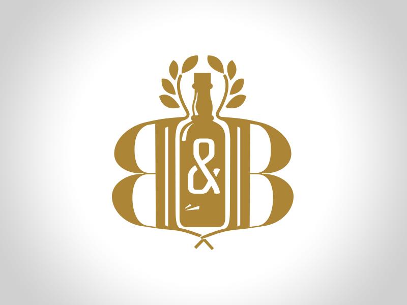 BOUNTY & BOTTLES b monogram wreath gold alcohol bottle logo crest icon