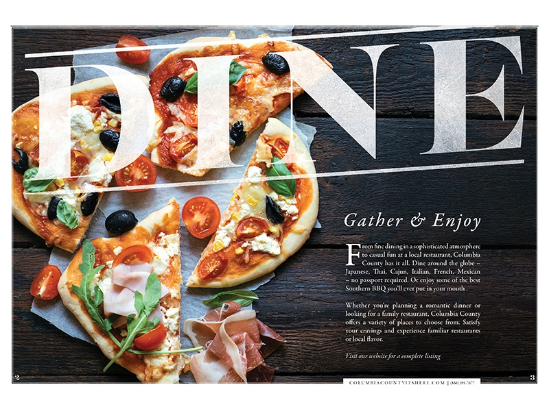 D I N E dining guide layout typography print spread food dine travel