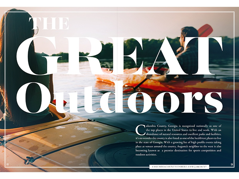 G R E A T adventure activity spread print typography layout travel outdoors