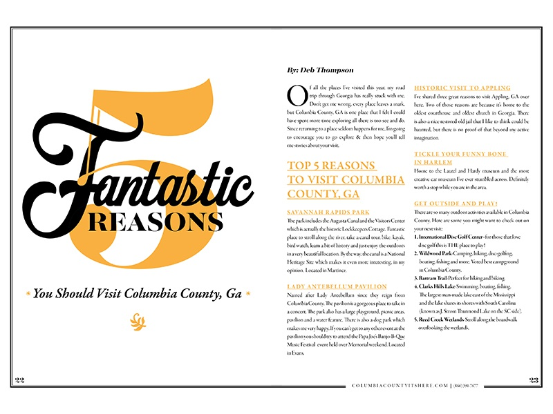F I V E spread print layout typography attractions events guide travel
