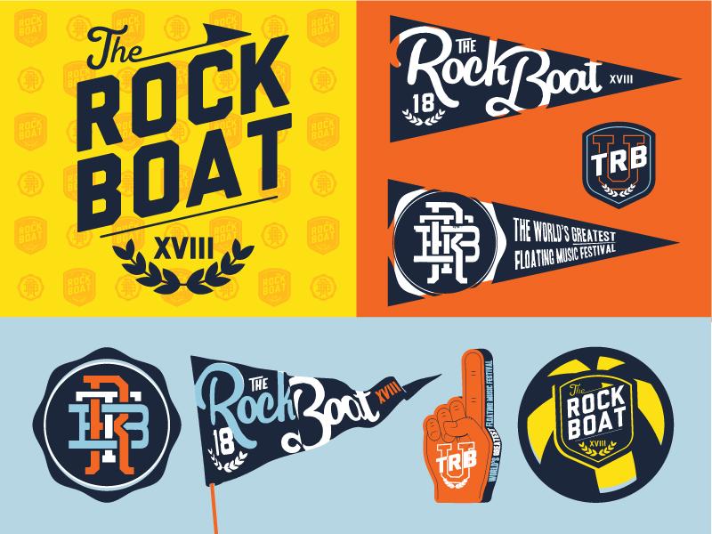 R O C K S H O W keyart logo flag pennant seal typography crest school university rock cruise music