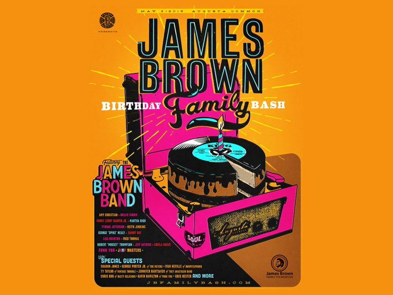 B I R T H D A Y retro james brown vintage vinyl record birthday print poster typography music concert