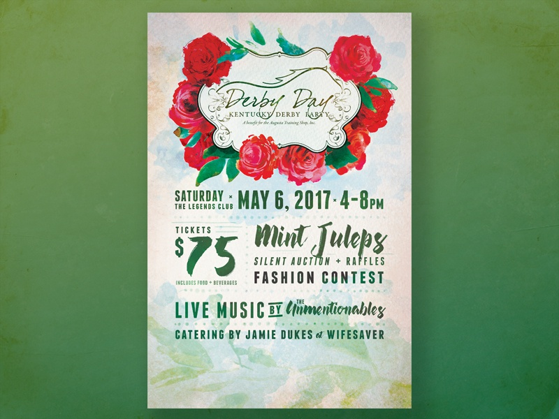 D E R B Y x 2 watercolor floral derby roses typography print poster