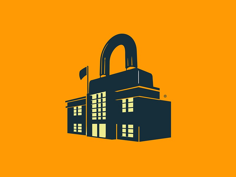S E C U R E branding building education school lock brand icon identity logo
