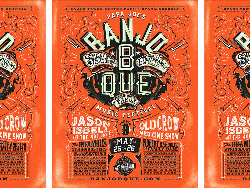 B A N J O 1 8 design type jason isbell old crow concert rock show music festival typography poster