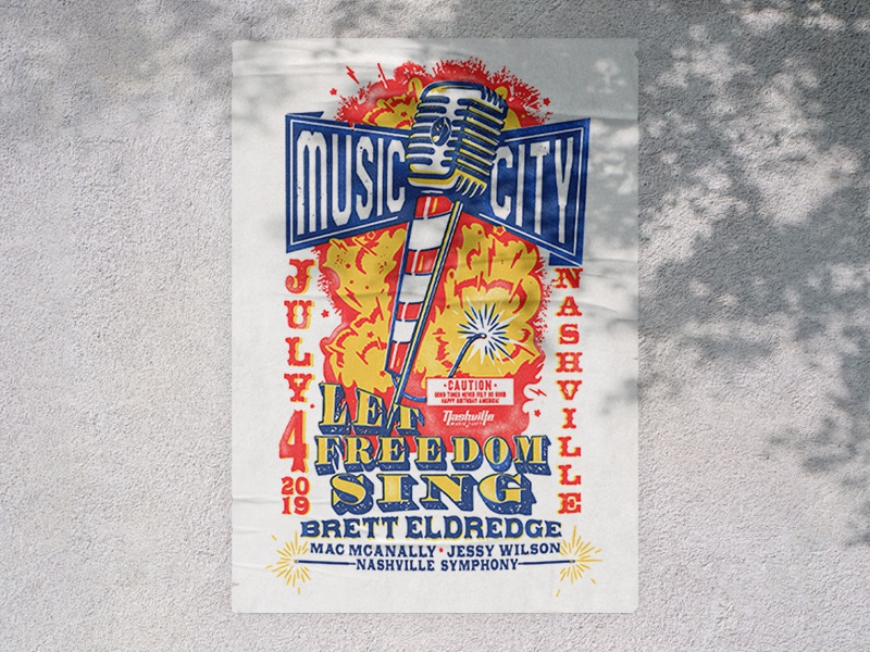M U S I C C I T Y america american freedom july 4th usa retro vintage illustration type typography tennessee nashville music city music concert poster