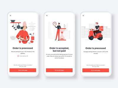 Delivery Mobile App - Statuses Screens motion user inteface product design animation design mobile ui mobile ux mobile app design mobile app delivery app animation after effects animation