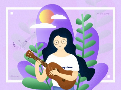 Ukulele music girl illustration girl ukulele