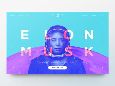 Elon Musk / Conference Concept typography branding event spacex tesla elon musk ui landing page website web design homepage banner