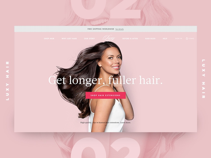 Luxy Feature hair ui store minimal elegant classy shop shopify ecommerce banner web design web