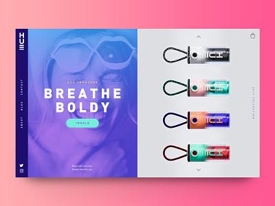 Hue Inhaler Website Concept sidenav ui colorful shop product ecommerce duotone banner website web splitscreen beauty