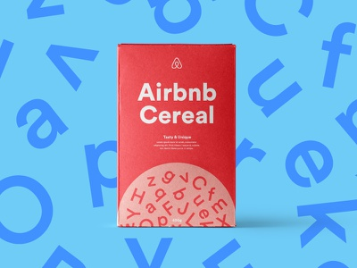 Airbnb Cereal packaging typography art direction minimal cereal airbnb box branding
