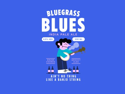 Bluegrass Blues I.P.A. brewing banjo character vector flat blue graphicdesign illustration beer ipa
