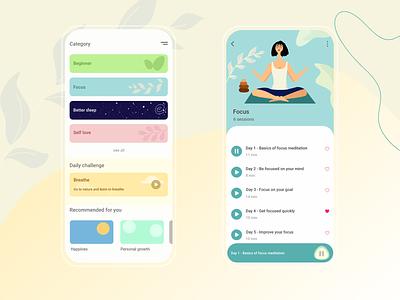 Meditation App 🧘♀️ meditation app meditate meditation flat vector ux illustration concept design app ui