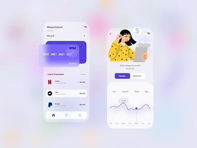 Finance App fintech ux credit card business cards transaction cash budget payment pay mobile ui mobile app design banking finance app ui