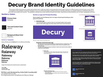 Decury Brand Design & Identity Guidelines branding design brand designer brand design brand identity brand identity design color colors logo guidelines design design guidelines