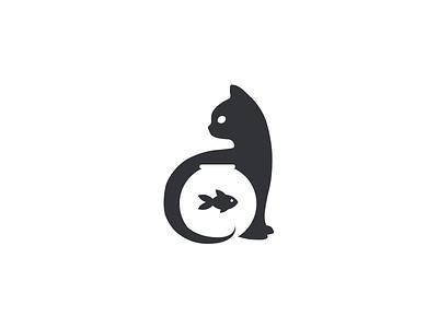Cat and Fish black cat negative space negative-space logo feline aquarium bowl goldfish fish cat