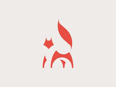 Fox negative space 狐 circle construction circles geometry pantone 179 minimal simple animal symbol mark logo fox