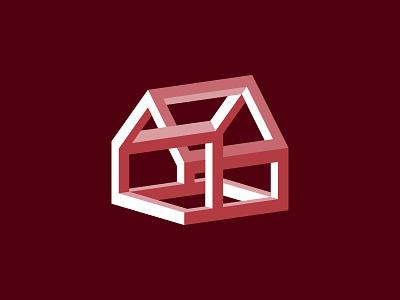 House of Illusions magic geometric architecture illusion house vector simple logo illustration minimal