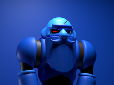 Big Blue future pirate space blue warrior design character illustration c4d 3d