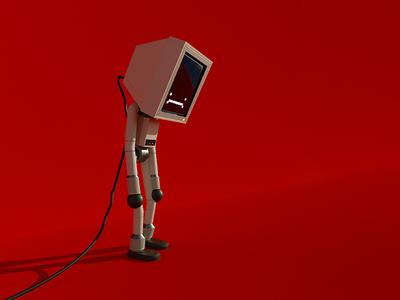 Computer 02 tech robot design cute illustration character 3d lowpoly