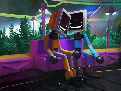Robot Love 004 cyberpunk scifi robot motion design cute character illustration animation c4d lowpoly 3d