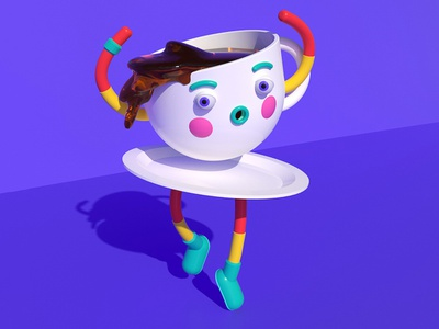 Coffee Cup Dancy Dance ballet cup cafe coffee cute illustration isometric character c4d lowpoly 3d