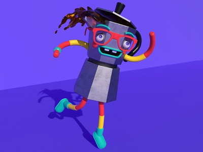 Expresso Pot Dancy Dance robot illustration lettering motion summer cute design animation character c4d lowpoly 3d