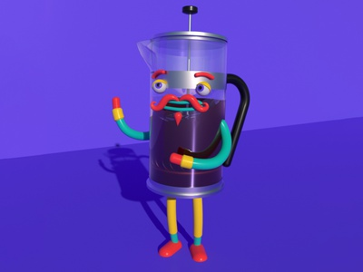 Monsieur Cafetière editorial food drink cafe coffee frenchpress design illustration character c4d animation 3d lowpoly