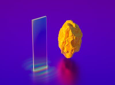 Duality design c4d art surreal vaporwave neon iridescent 3d rock glass