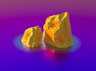 Los Peñónes neon iridescent roca formation rock illustration 3d c4d